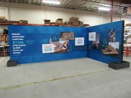 Custom Island Exhibit with SuperNova Lightboxes, SEG Tension Fabric Graphics, Product Shelves, Locking Storage, Monitor Mount, and Planter Boxes