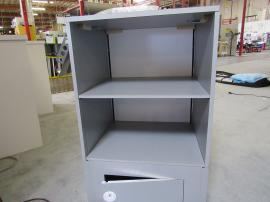 MOD-1543 Modular Backlit Counter with Rear Shelves and Locking Storage