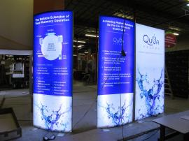 (2) Double-sided VK-1948 Curved SuperNova LED Lightboxes and (1) Flat Lightbox with Tension Fabric Graphics